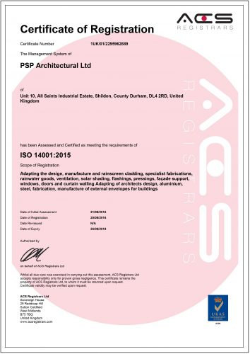 ISO14001 – PSP Architectural title image