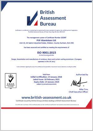 ISO9001 – PSP Aluminium