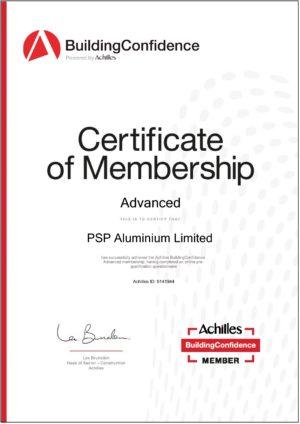 PSP Aluminium Achilles Certificate of Membership